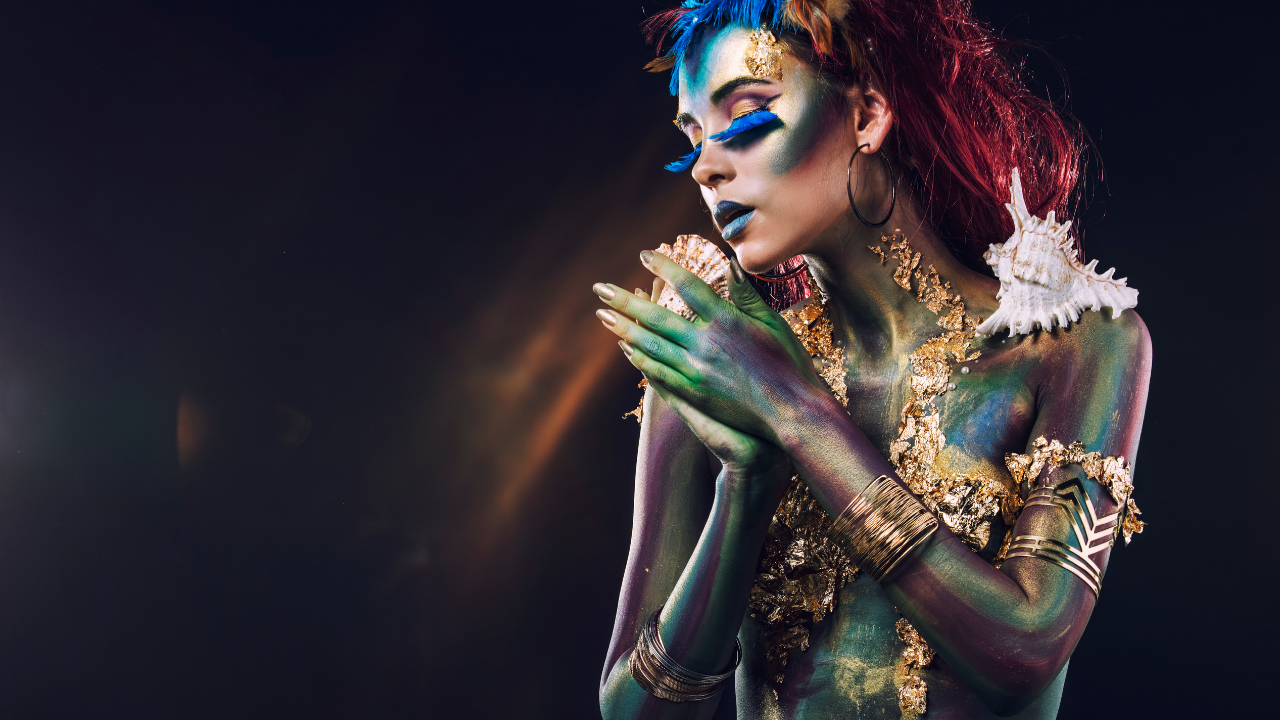 Woman wearing cosmic body art in a fantasy style - Honouring Your Soul & Bringing Your Potent Magic To All You Do - Leanne Juliette