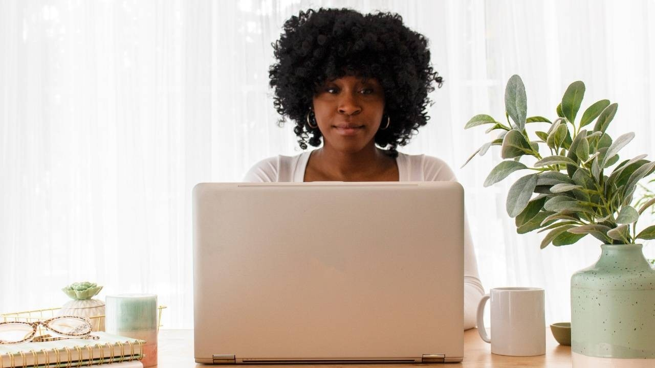 Woman having a virtual meeting with a career coach