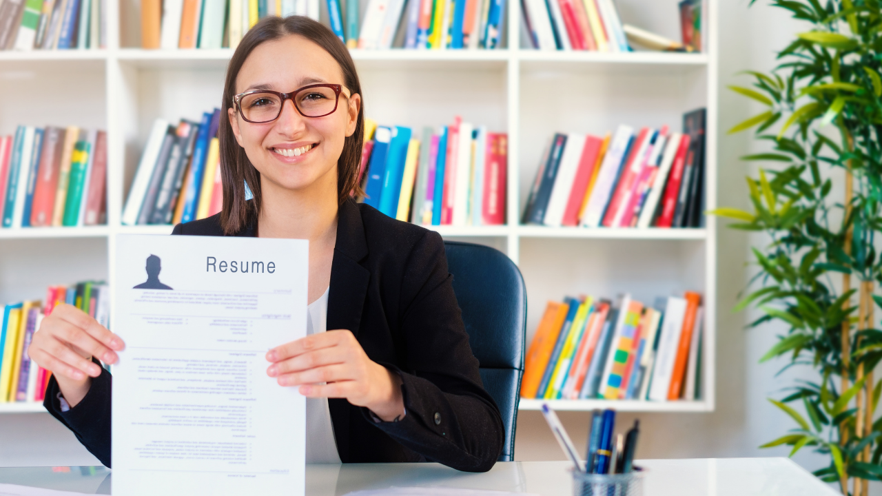 Woman proud of her excellent resume