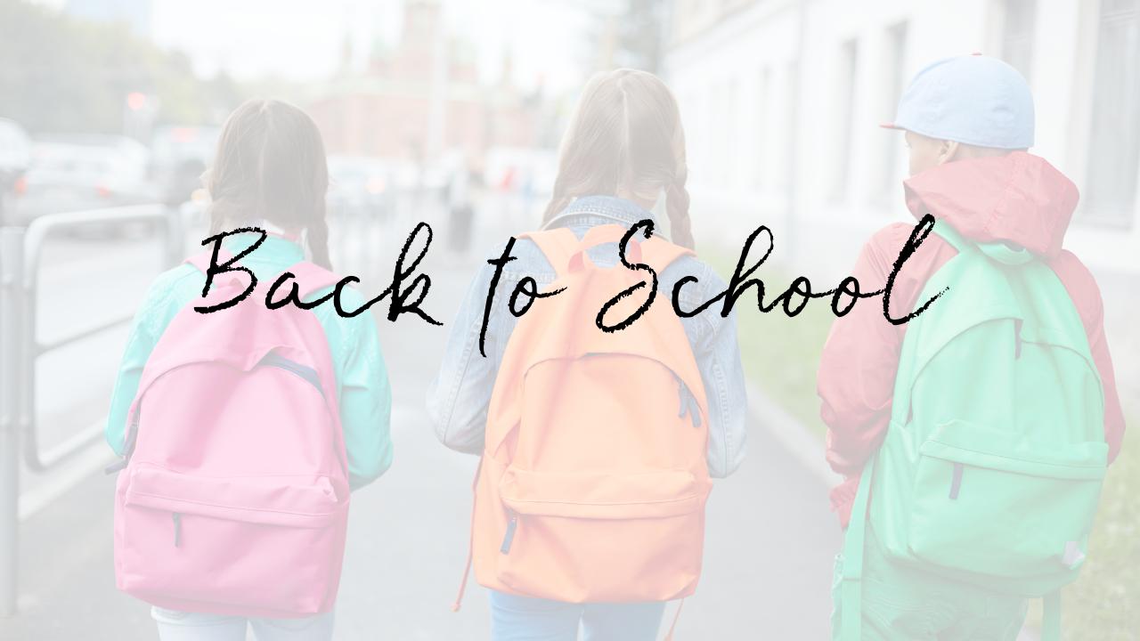 Children in backpacks going to school