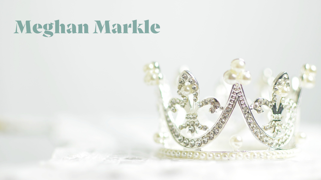 The words Meghan Markle next to a crown