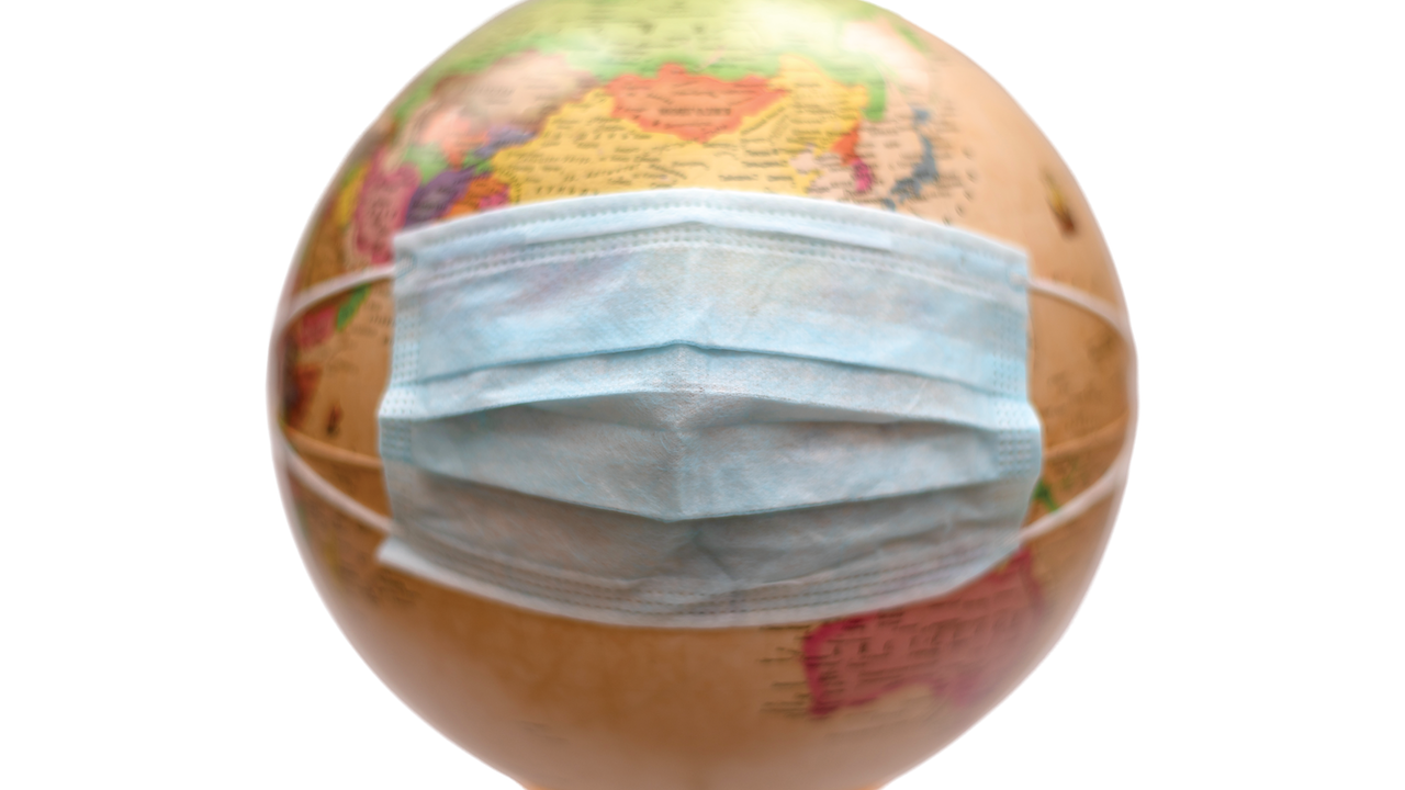 Globe in protective medical mask