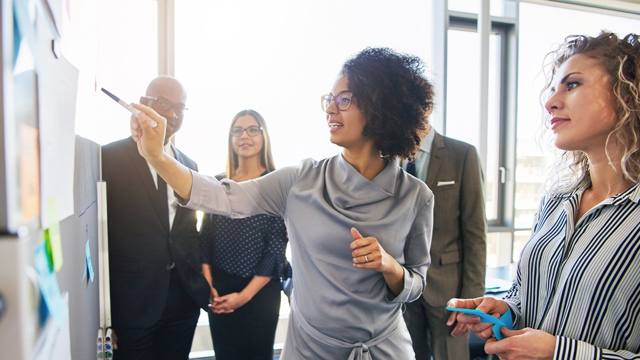 Woman giving work presentation