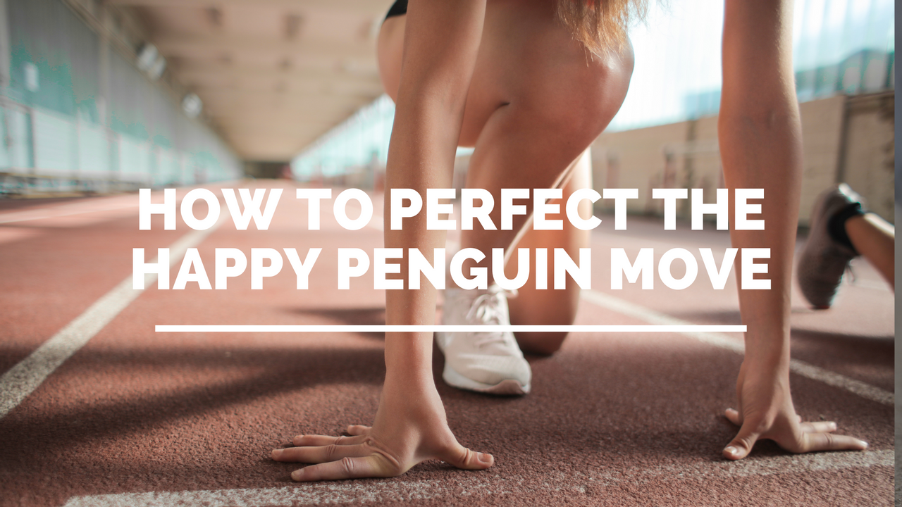 woman about to run having done the happy penguin move