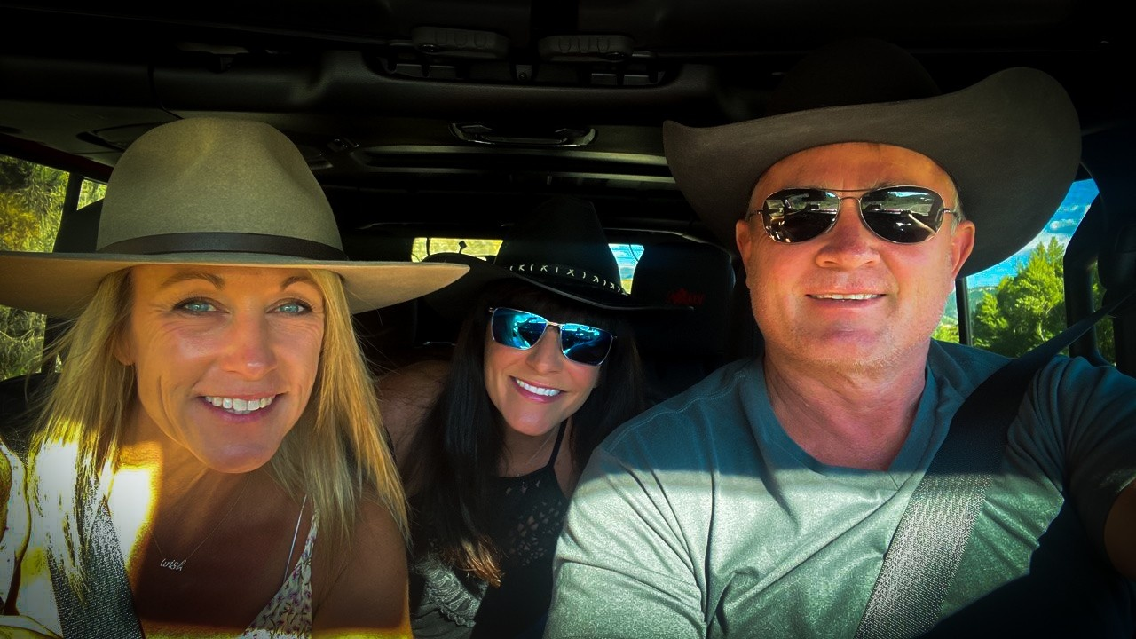 Dr. Tim, Pam and Tracy working and playing in Jackson, WY.