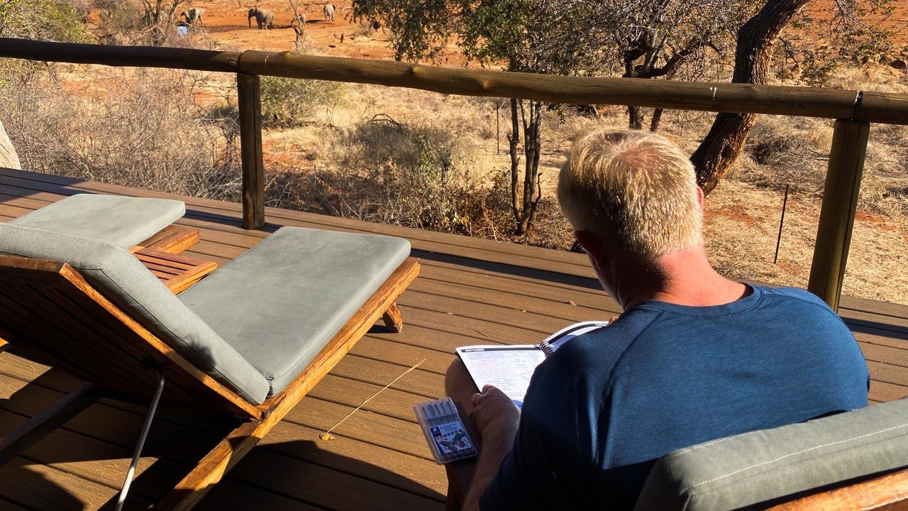 Dr. Tim using his Living Every Minute planner in South Africa.