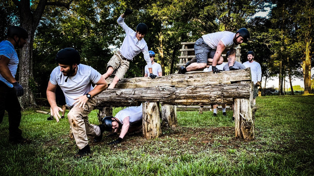 A group of gladiators complete Dr. Tims obstacle course at Reynolds Ranch in Atlanta, TX.