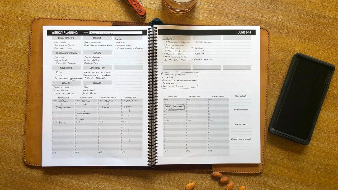 A filled out Living Every Minute Planner.
