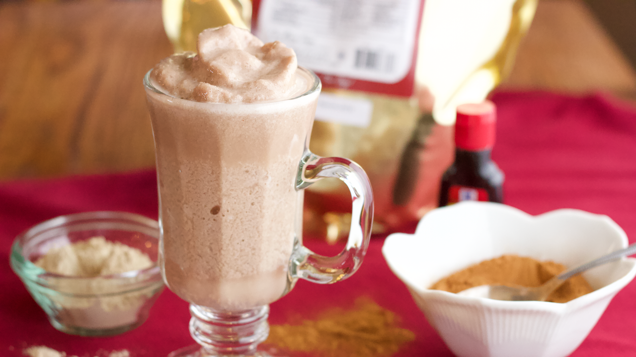 chocolate smoothie with Maca in glass cup