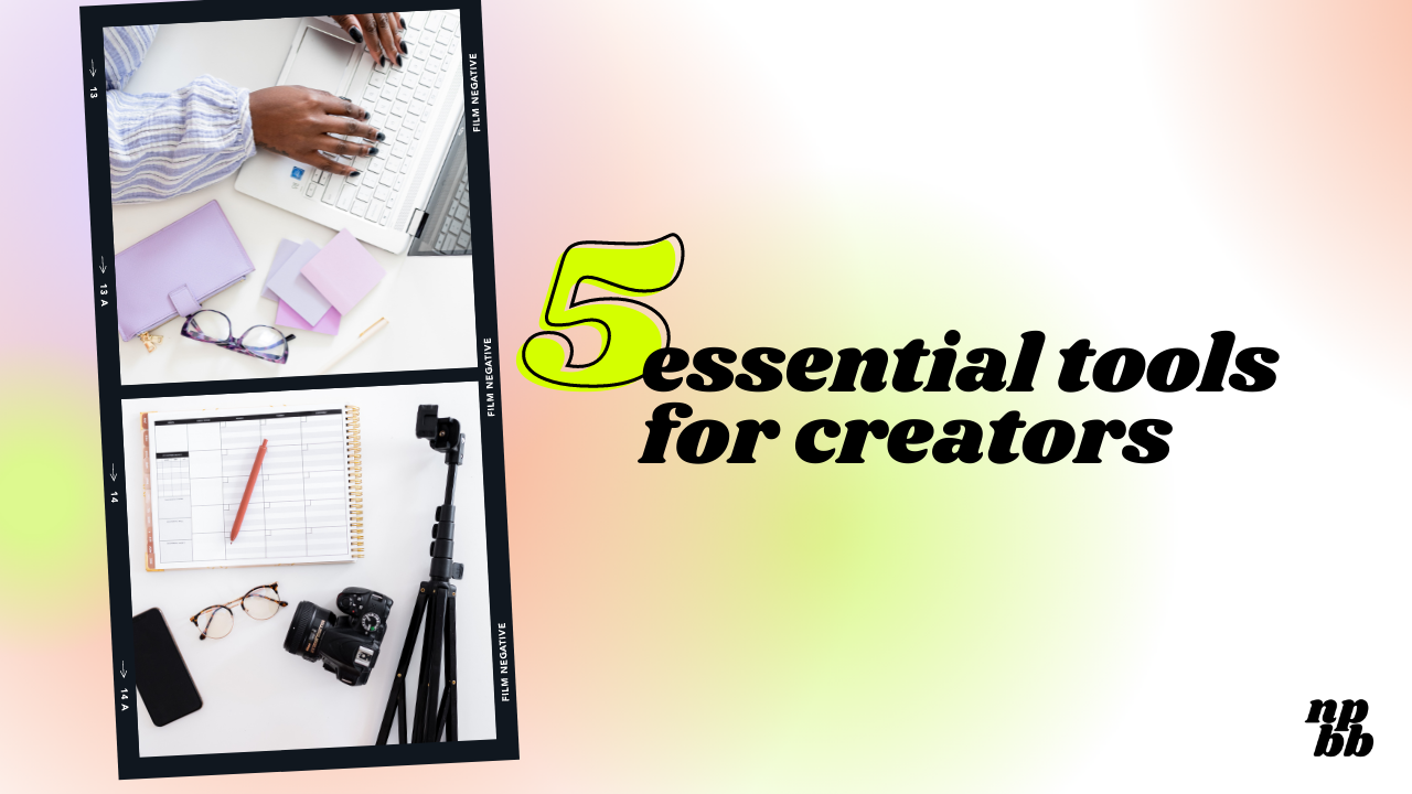 Five essential tools for creators blog post, hands on a keyboard with various business tools on the desk