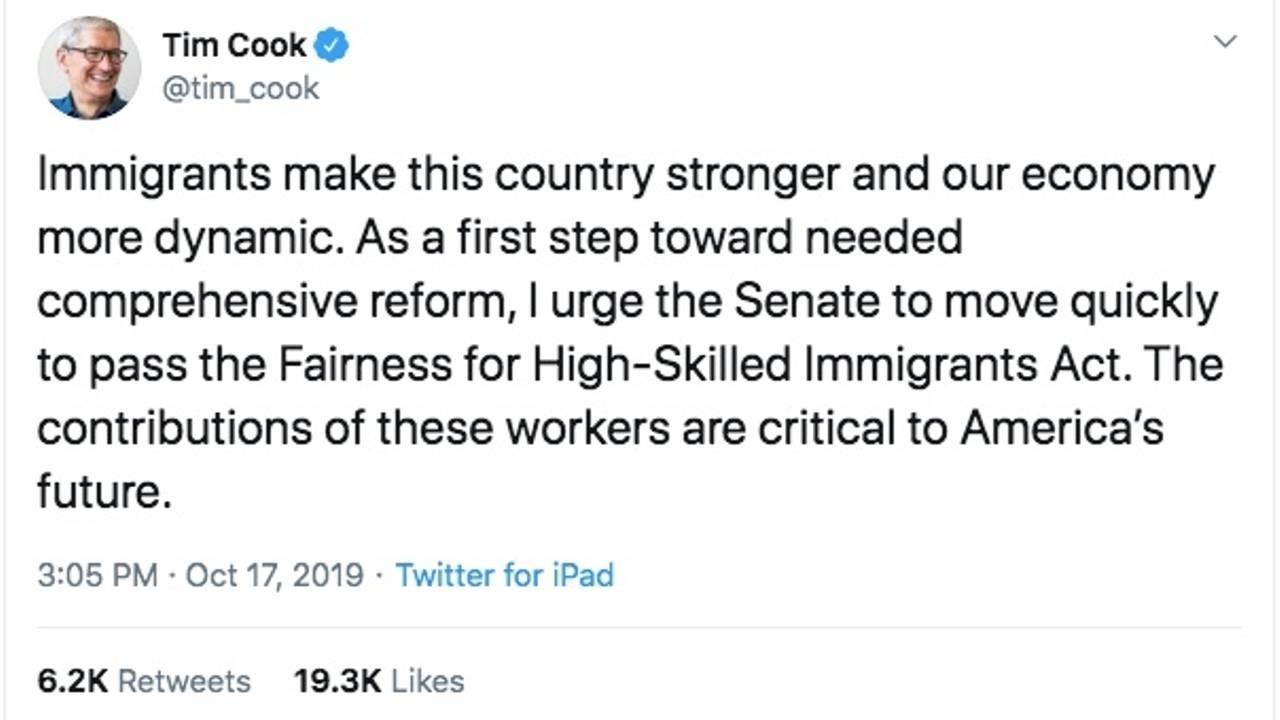 Screenshot of a Tweet from Tim Cook