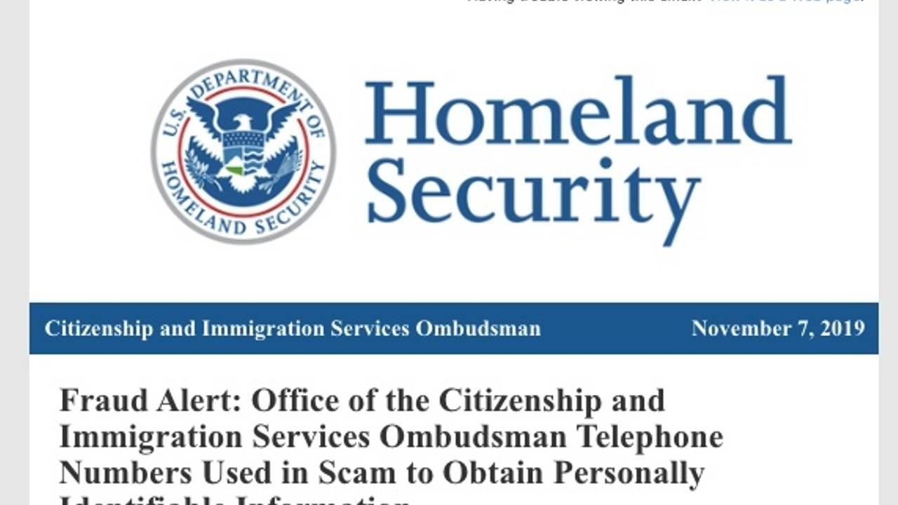 Homeland Security screenshot of document