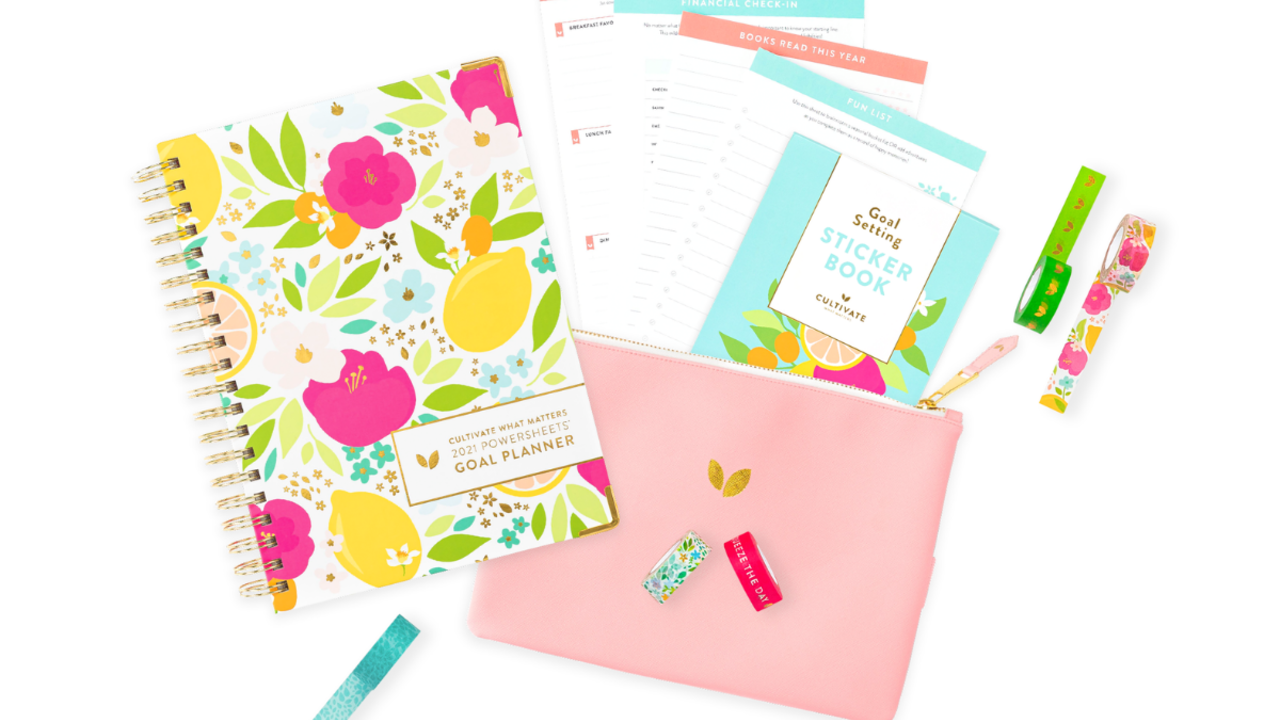 PowerSheets planner, accessory pouch, washi tape