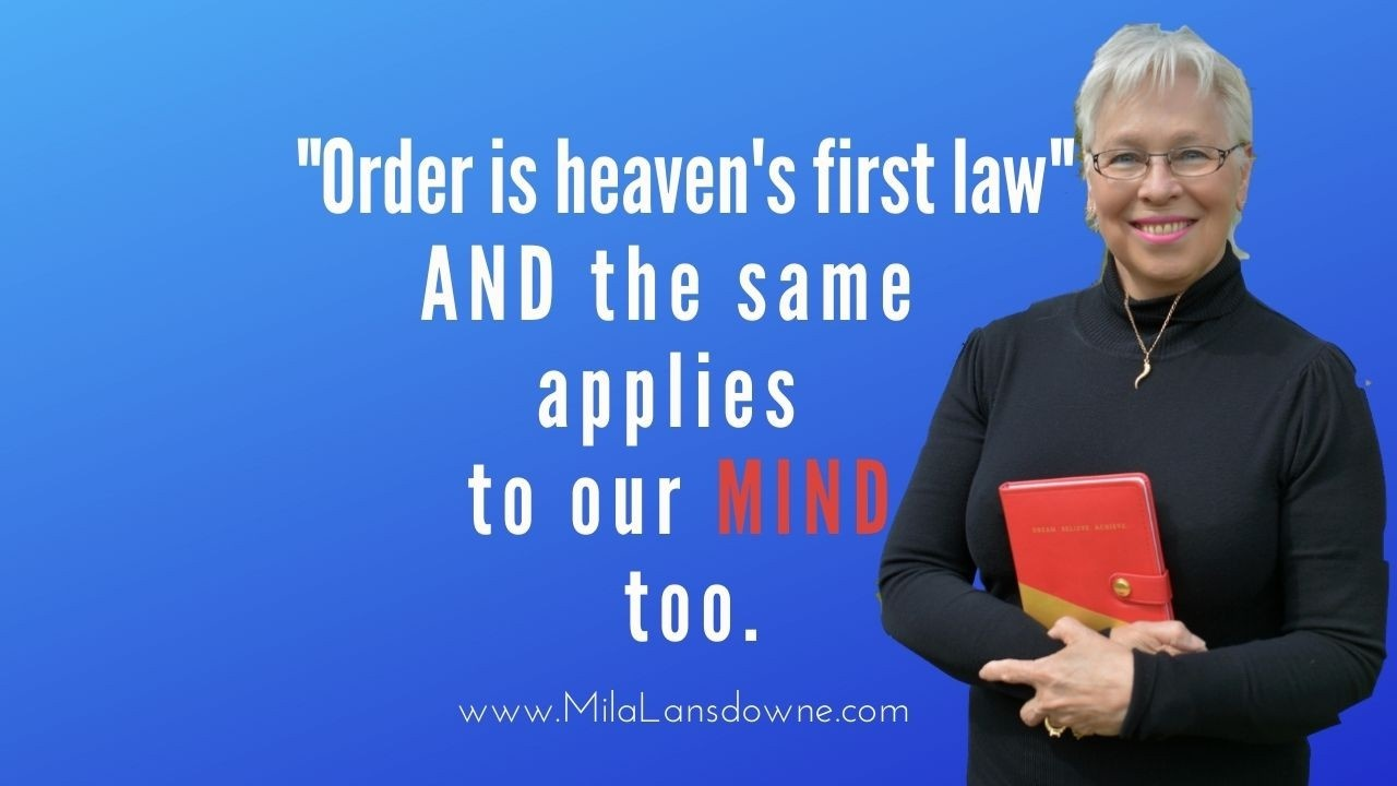 Mila Lansdowne with red book and quote Order is heaven's first law,
