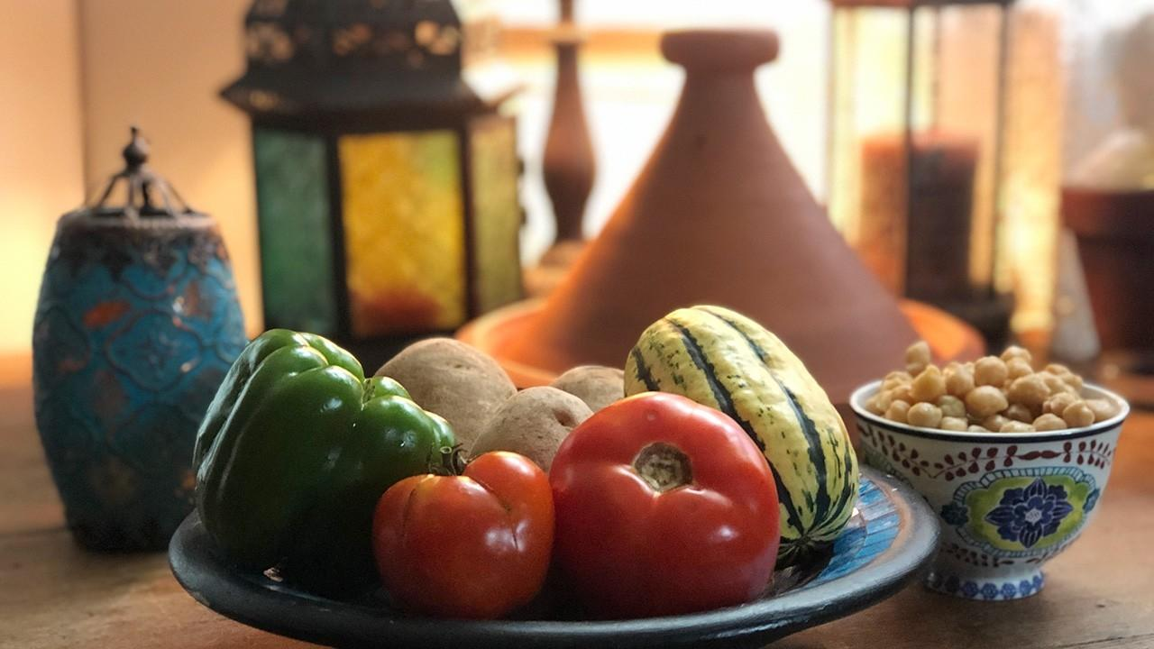 Photograph of food ingredients with a Moroccan flair by Christine Moss