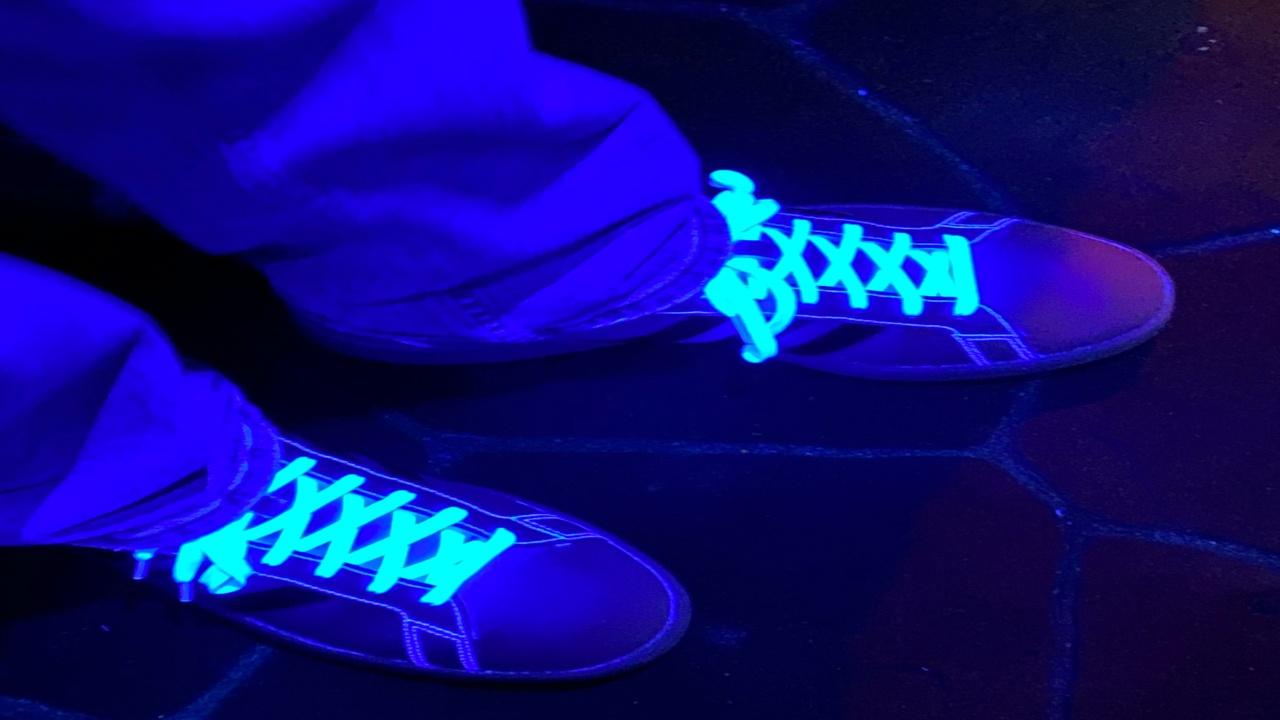 Mikey's shoes illuminated