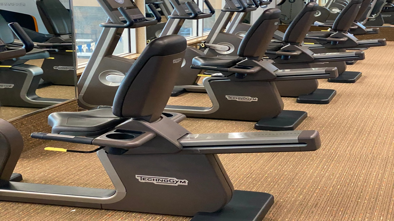 stationary bikes at the gym