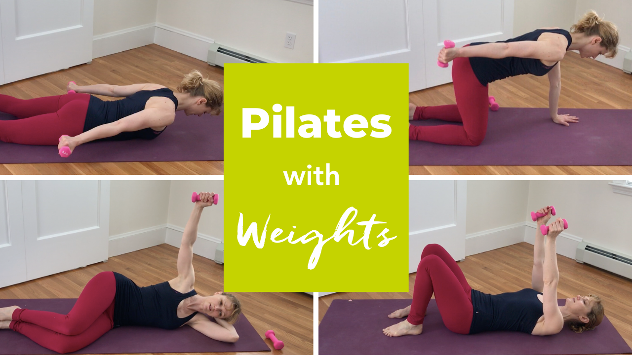 Pilates Mat Exercises with Hand Weights