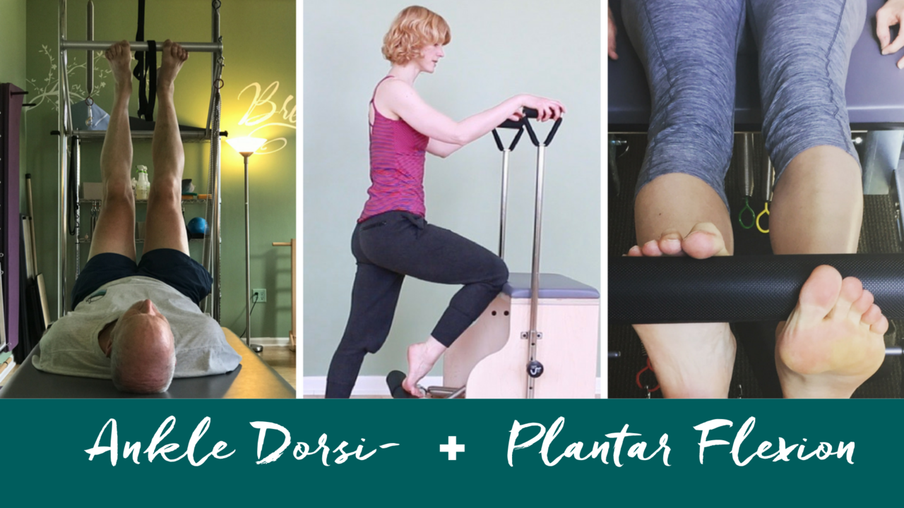 Pilates Ankle Dorsi- and Plantar Flexion Exercises on Reformer, Trapeze Table and Chair