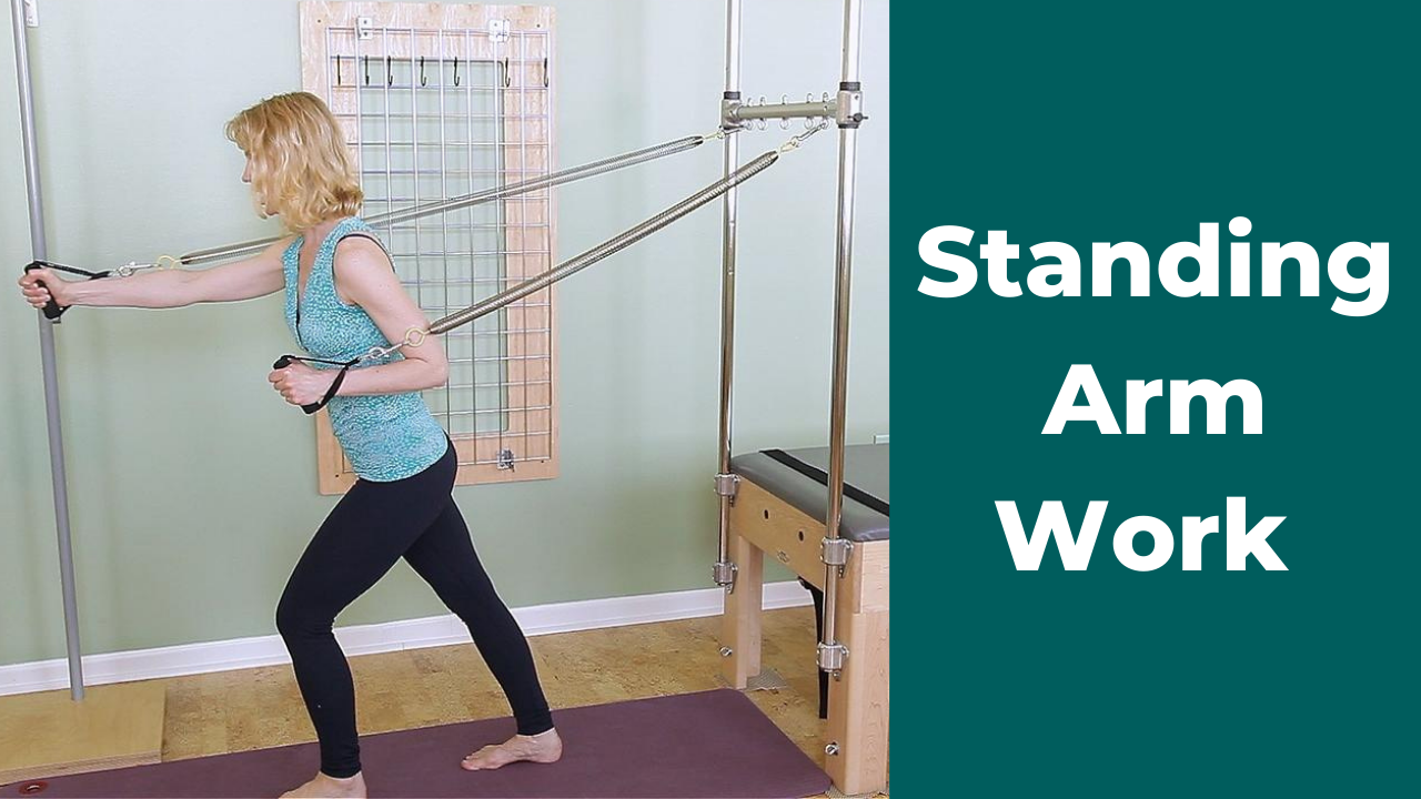 Standing Arm Work Facing Out on Pilates Trapeze Table