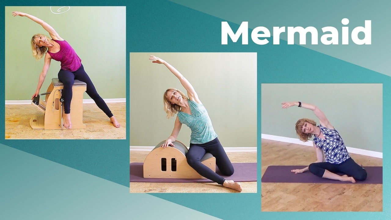 Pilates mermaid on the mat, chair, spine corrector, reformer and cadillac