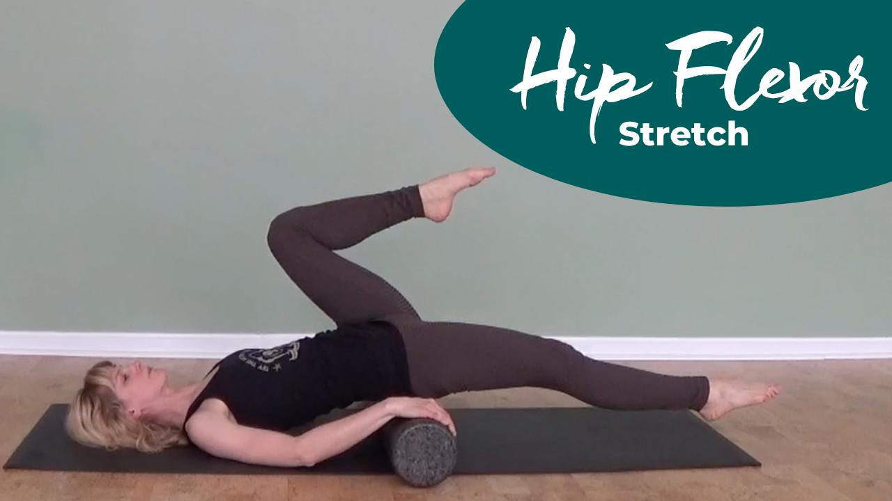 Pilates hip flexor stretch with the foam roller
