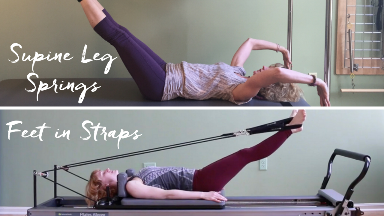 Pilates Supine Leg Springs on the Trapeze Table to Feet in Straps on the Reformer