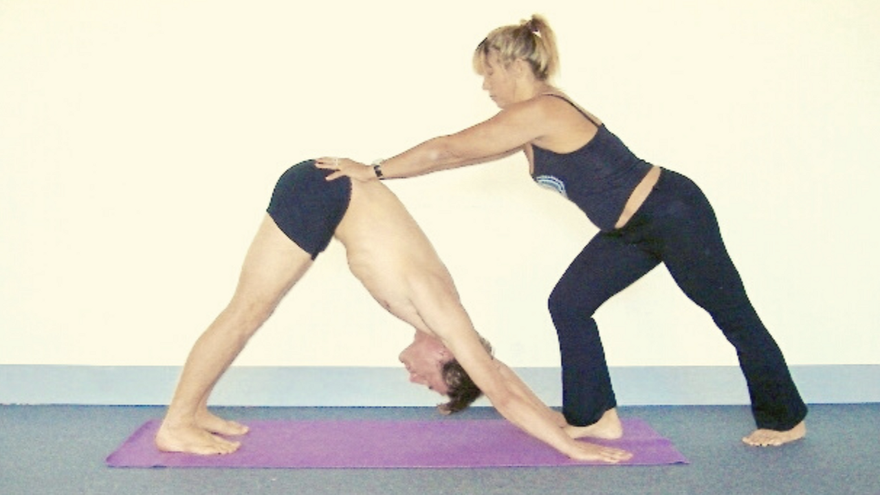 Image of downward dog yoga pose adjustment