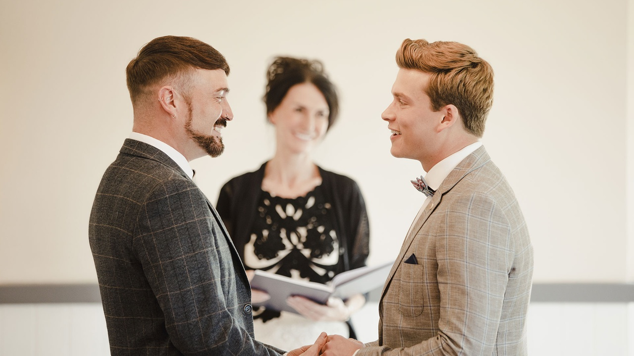 Two gentleman getting married by a celebrant
