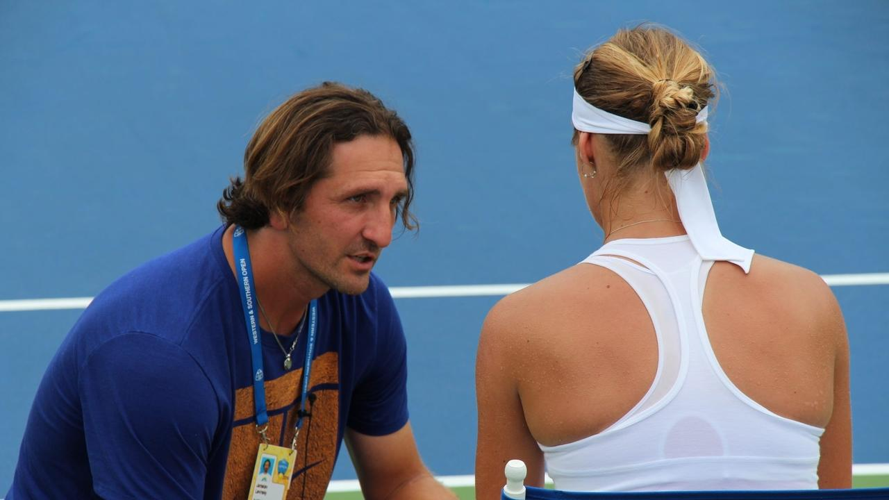 Image of a professional tennis player, tennis coach. Tennis workouts.