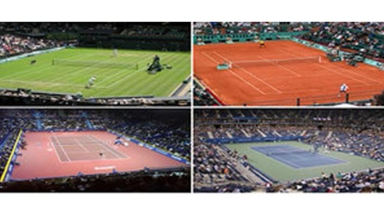 Image of tennis courts. Tennis training surfaces