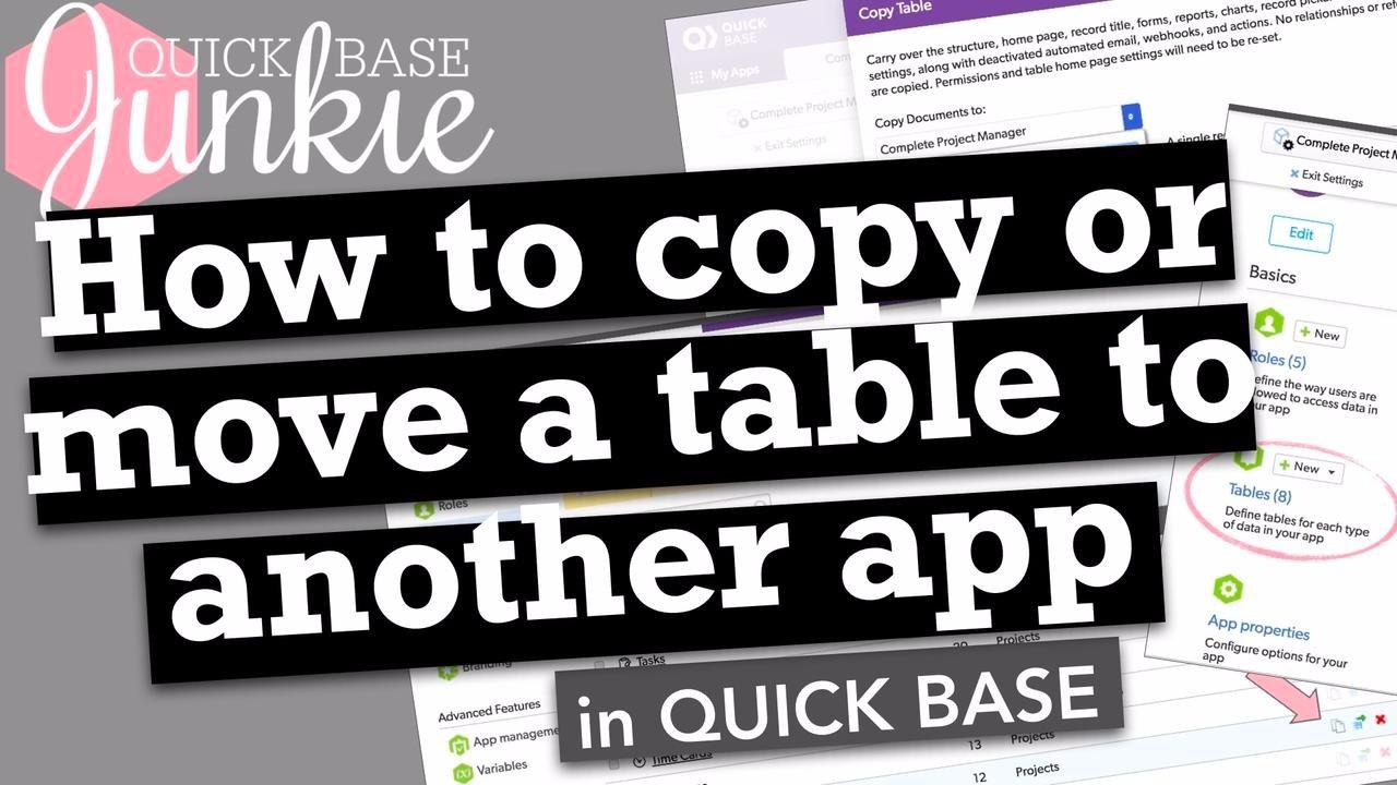 How to copy or move a table to another app in Quickbase
