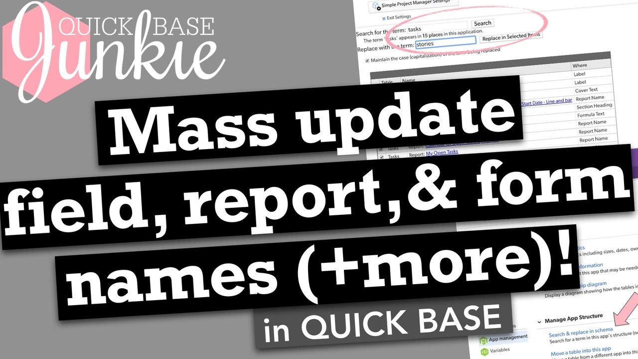 How to update the text in the structure of your Quickbase
