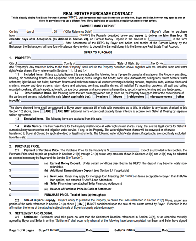 Utah real estate purchase contract
