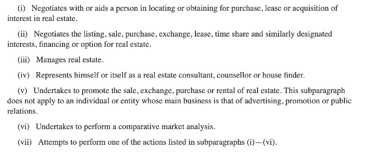 Pennsylvania definition real estate broker