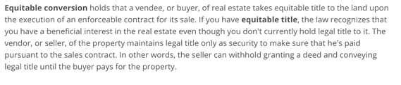 Washington state real estate equitable conversion