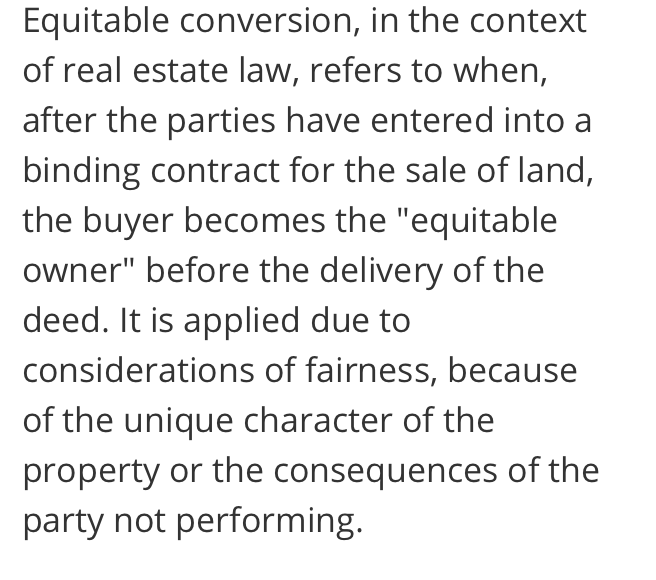 New Jersey equitable conversion