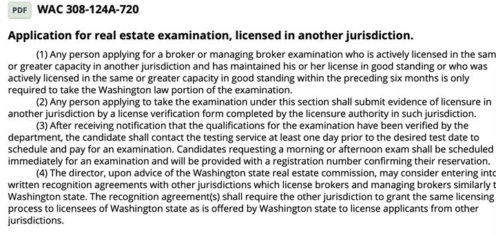 Washington state real estate broker