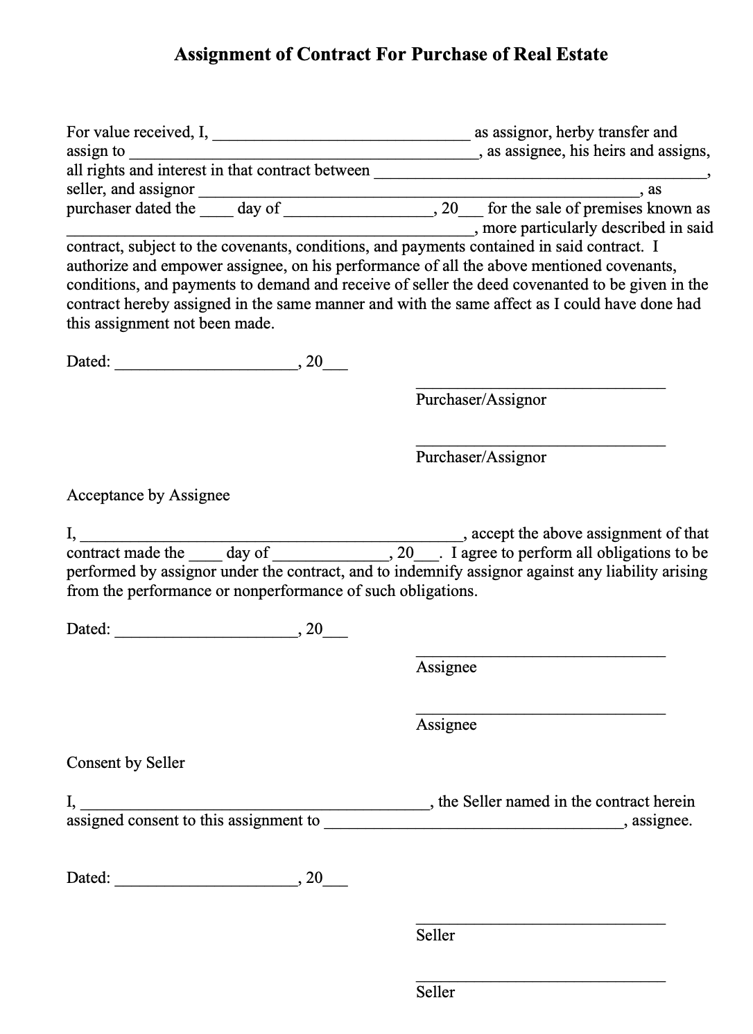 Maryland real estate assignment contract