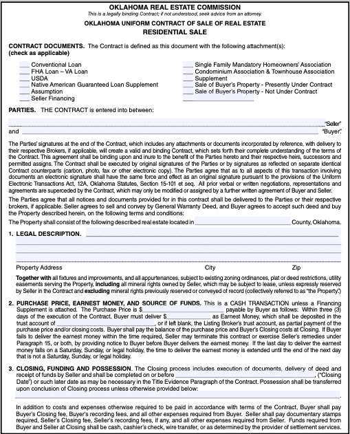 Oklahoma real estate wholesale contract