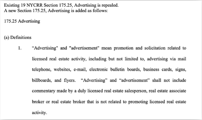New York Advertising Law Real Estate