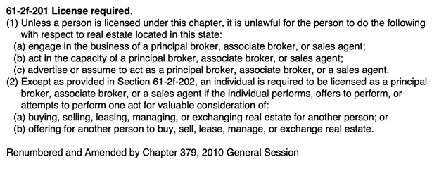 Utah real estate license