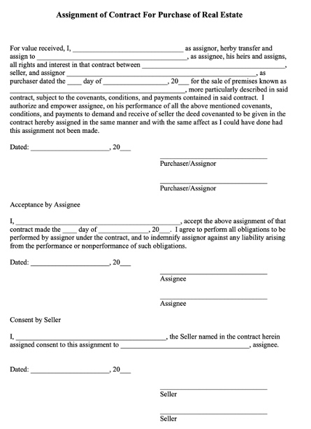 assignment contract purchase ohio