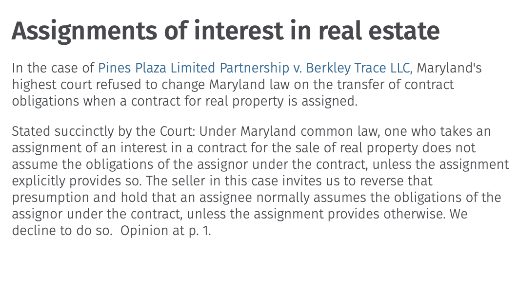 Maryland real estate transactions