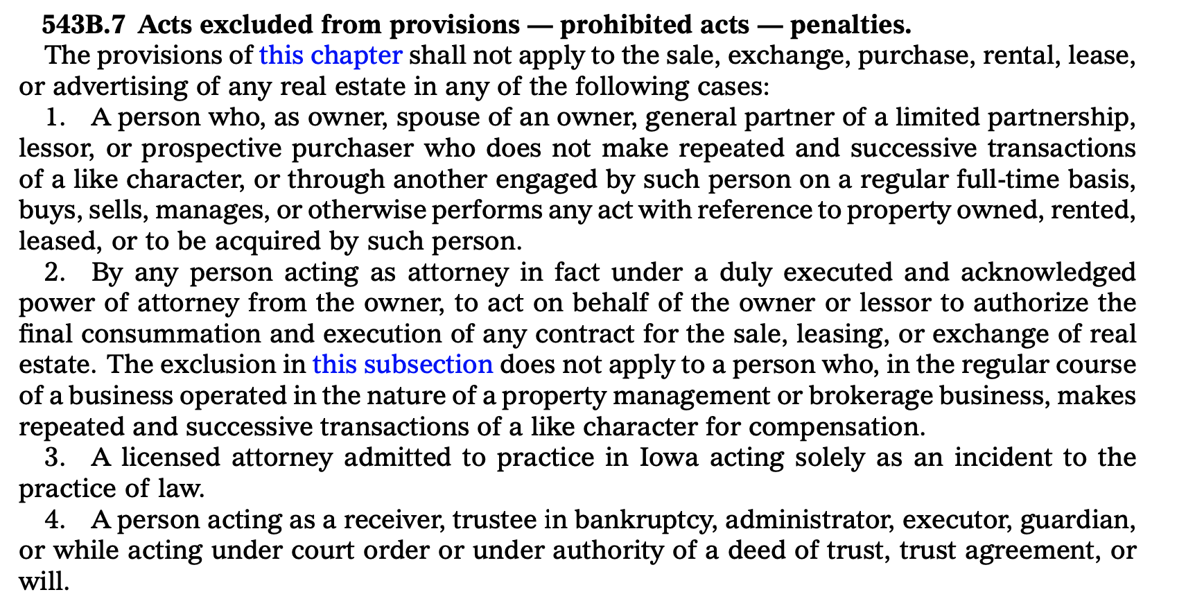 Iowa real estate wholesaling exclusions and penalties