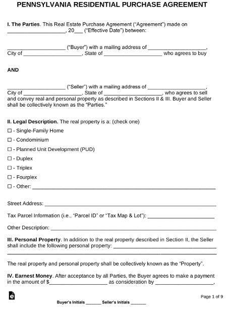 Pennsylvania purchase agreement wholesaling