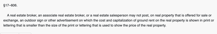 Maryland real estate advertising rules