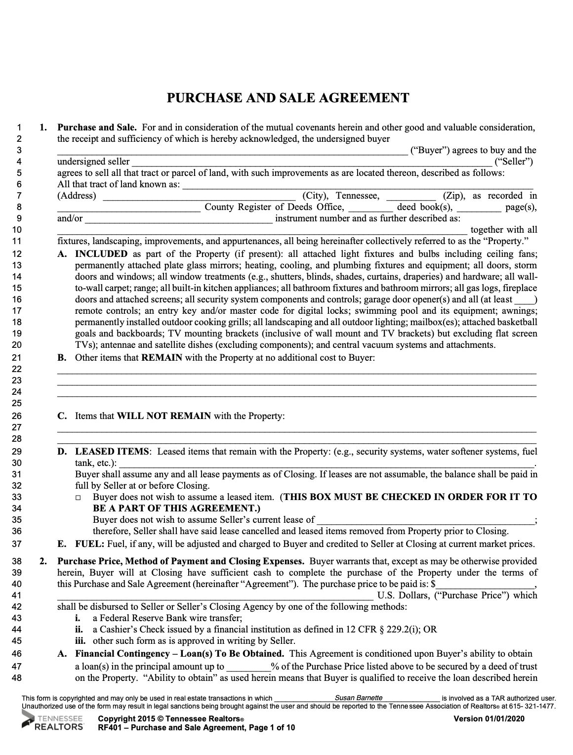 Tennessee purchase contract