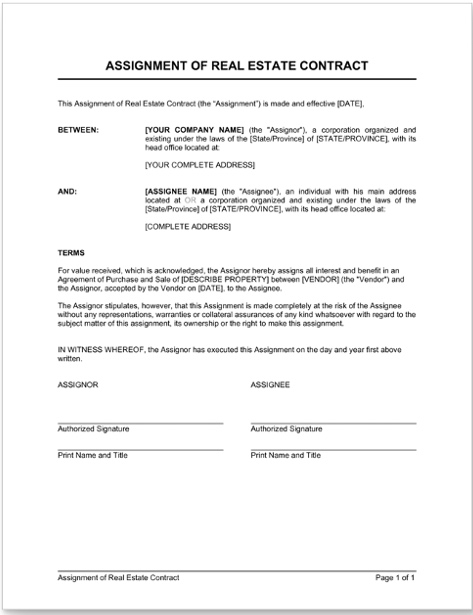 assignment real estate contract wholesaling