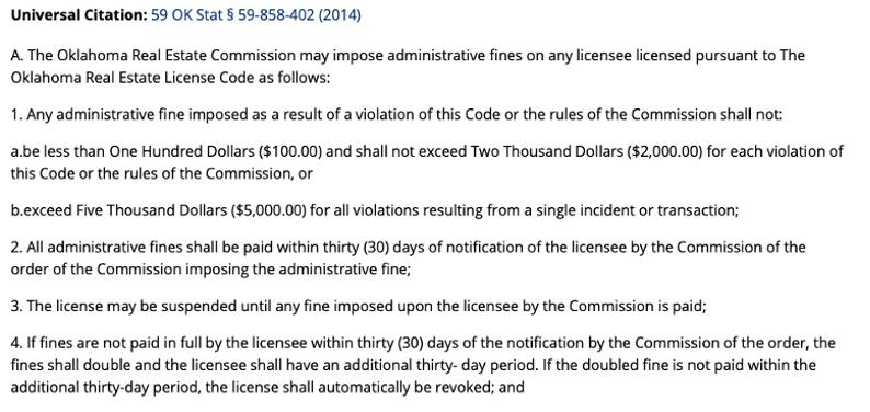real estate commission Oklahoma violation